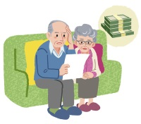 Aged couple sitting on the sofa and checking bills